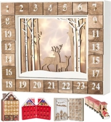 Wiederverwendbarer Adventskalender aus Holz zum Befüllen